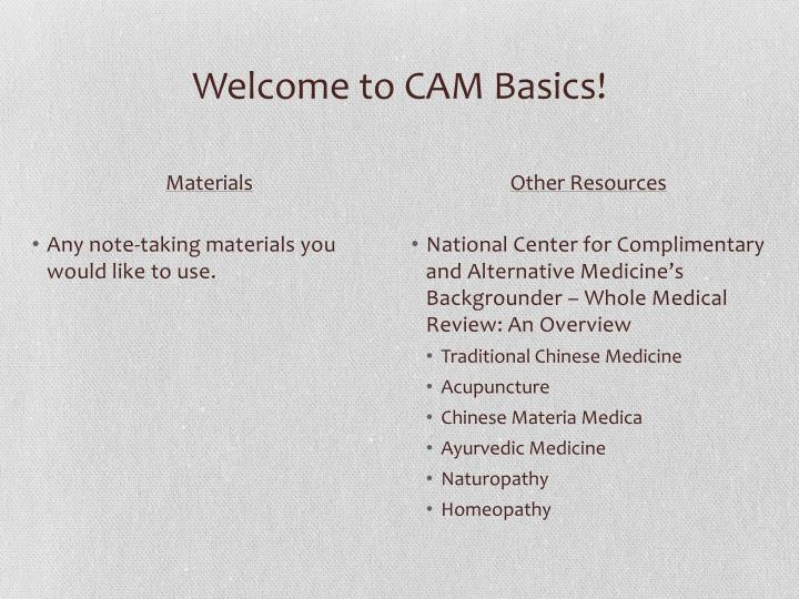 Welcome to cam basics