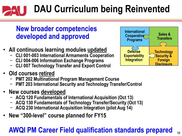 DAU Curriculum being Reinvented