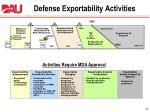 defense exportability activities