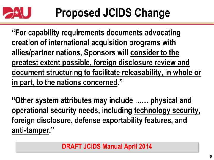 Proposed JCIDS Change