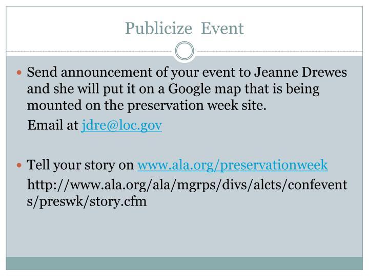 Publicize  Event