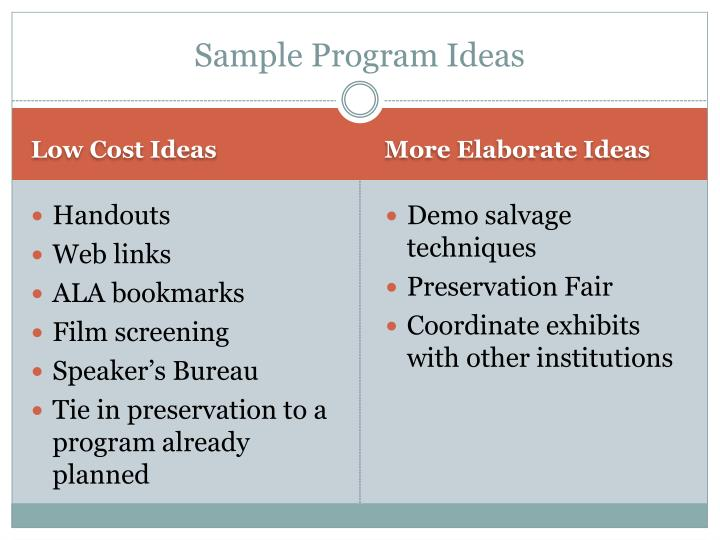 Sample Program Ideas