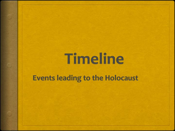 the events leading to the holocaust Some events leading up to holocaust in germany starts with hitler becoming chancellor of germany hitler started to blame the jews for being defeated in world war 1.