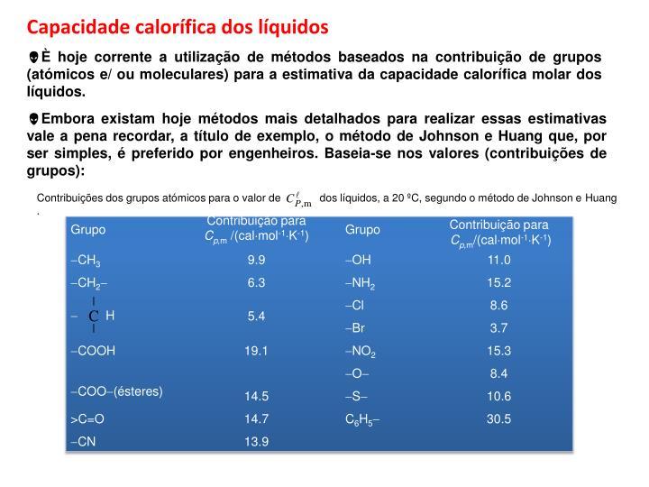 Capacidade calorífica dos líquidos