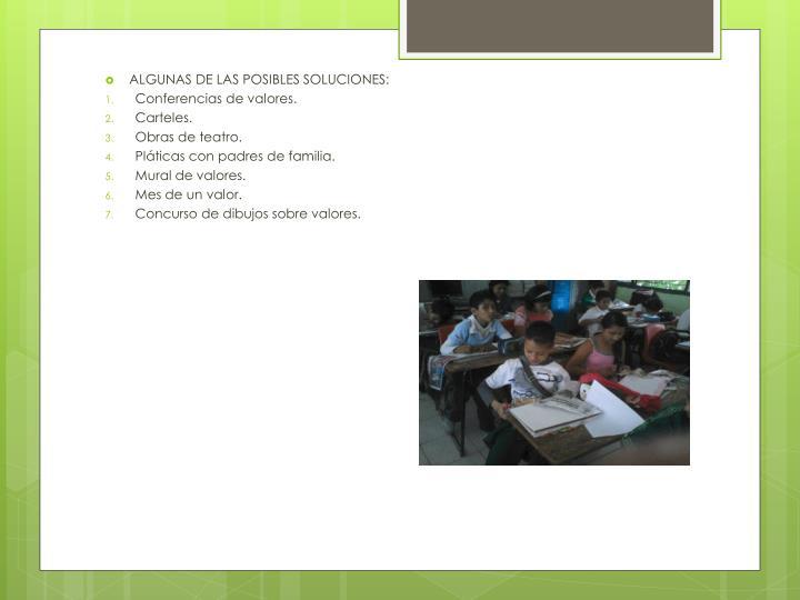 ALGUNAS DE LAS POSIBLES SOLUCIONES: