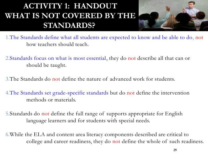 Activity 1:  Handout