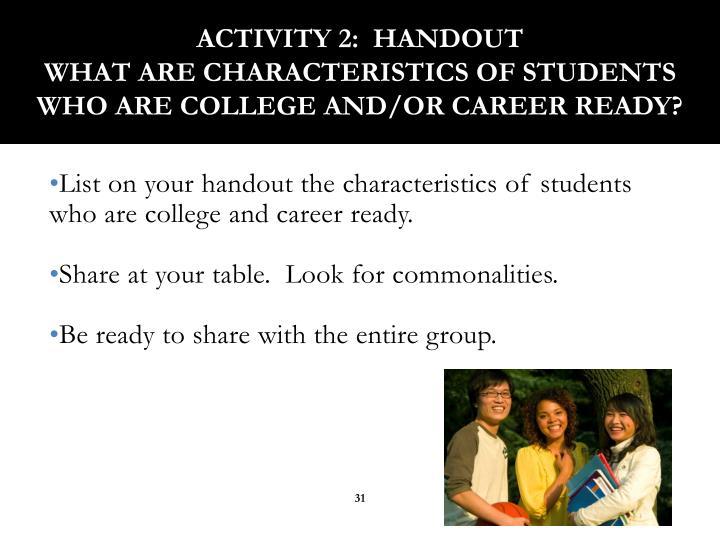 Activity 2:  Handout