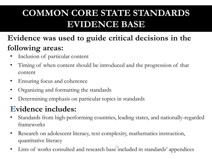 Common Core State Standards Evidence Base