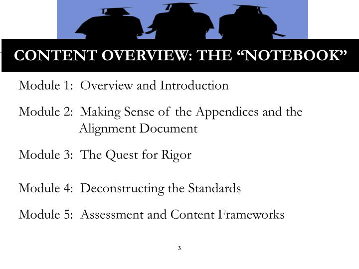 "Content Overview: the ""Notebook"""