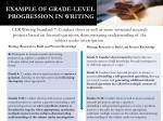 example of grade level progression in writing