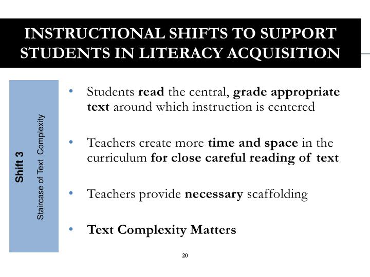 Instructional Shifts to Support Students in Literacy Acquisition