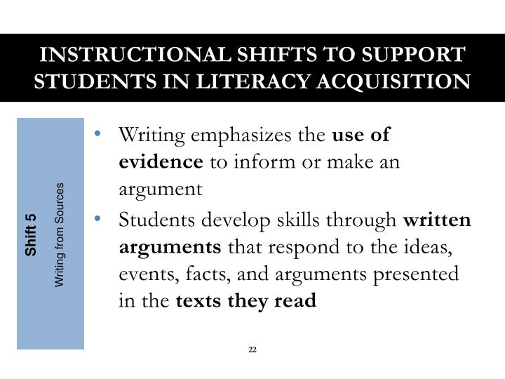 Instructional Shifts to Support Students in Literacy