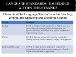 language standards embedded within the strands