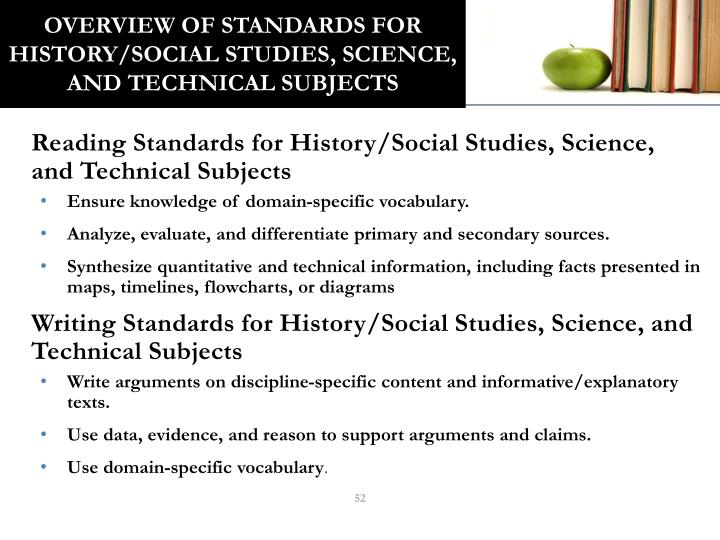 Overview of Standards for History/Social Studies, Science, and Technical Subjects