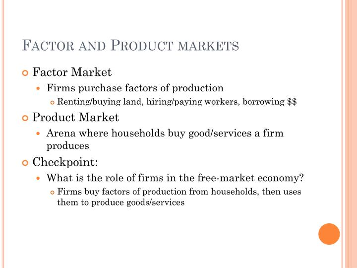 Factor and Product markets