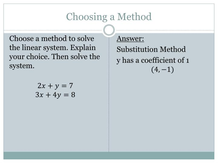 Choosing a Method