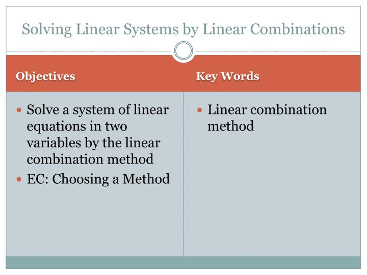 Solving linear systems by linear combinations1