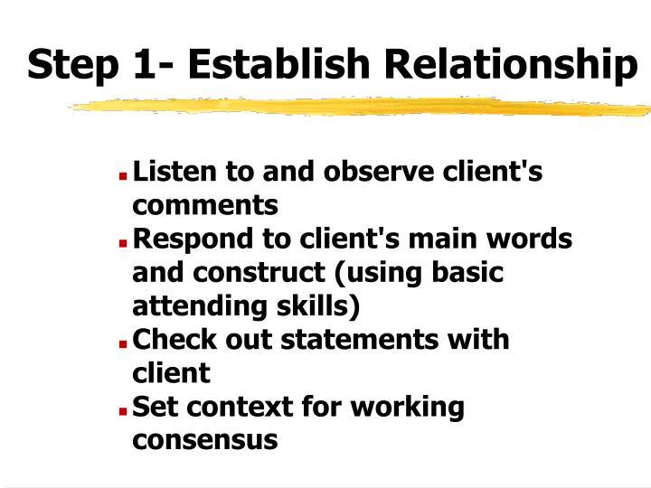 Step 1- Establish Relationship