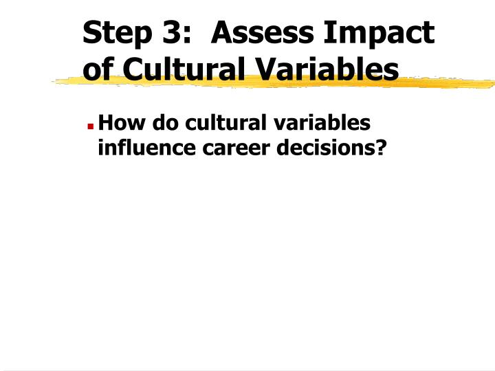 Step 3:  Assess Impact of Cultural Variables