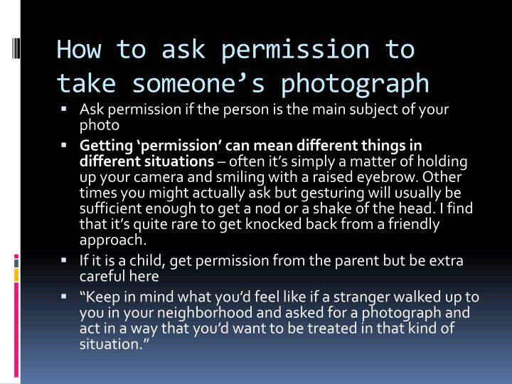 How to ask permission to take someone's photograph