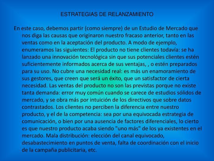 ESTRATEGIAS DE RELANZAMIENTO