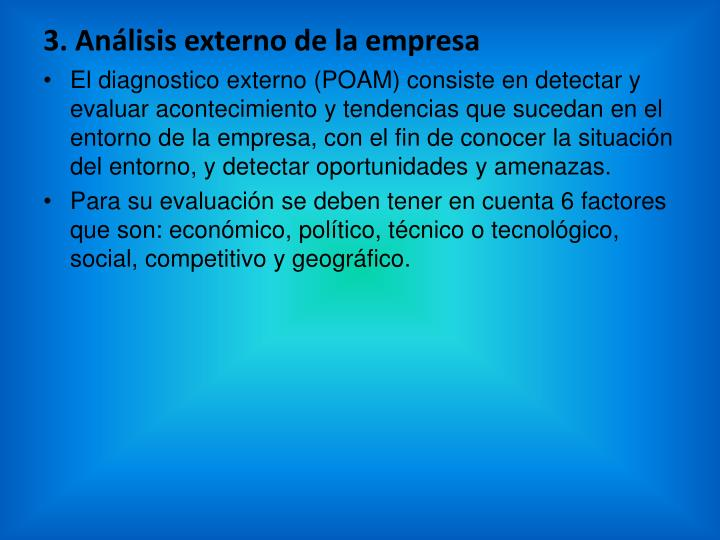 3. Análisis externo de la empresa