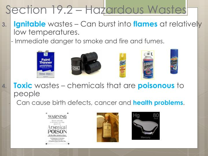 Section 19.2 – Hazardous Wastes