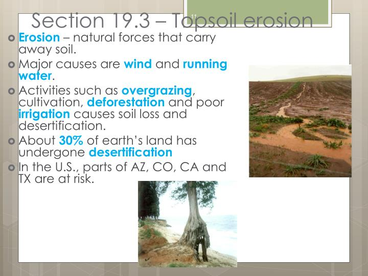 Section 19.3 – Topsoil erosion