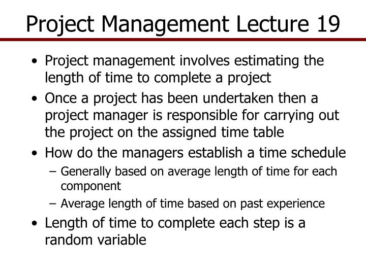 Project management lecture 19