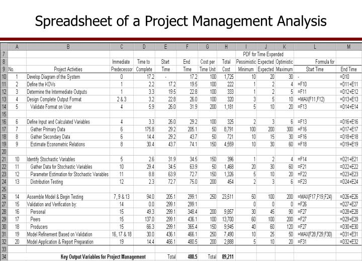 Spreadsheet of a Project Management Analysis