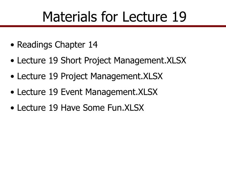 Materials for Lecture 19