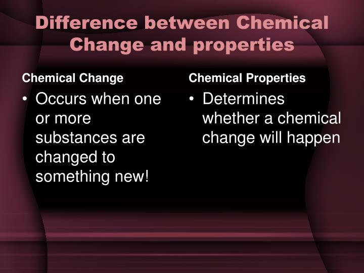 Difference between Chemical Change and properties