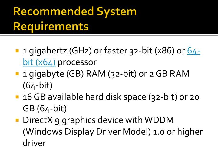 Recommended System Requirements