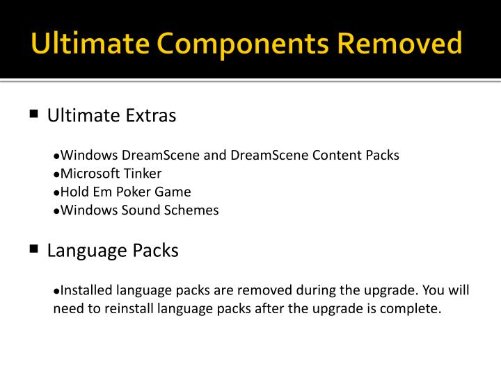 Ultimate Components Removed