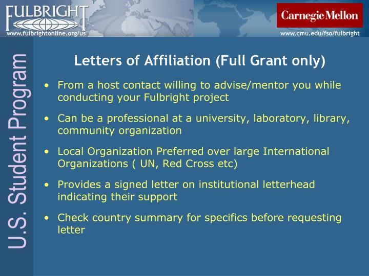 Letters of Affiliation (Full Grant only)