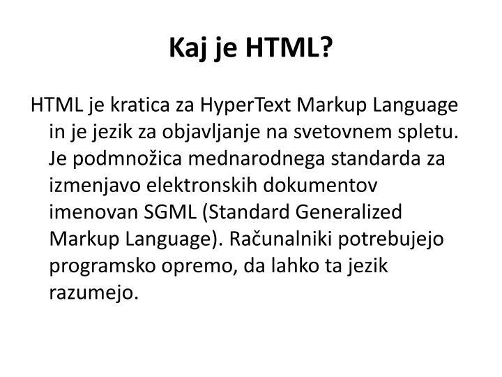 Kaj je HTML?