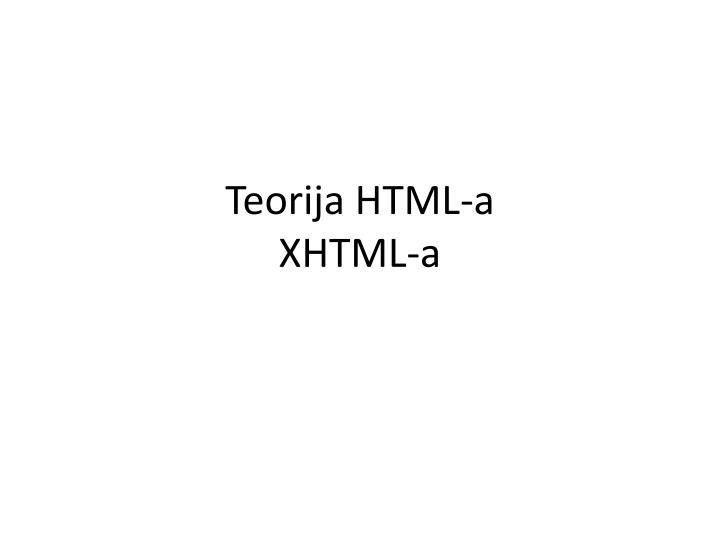 Teorija HTML-a