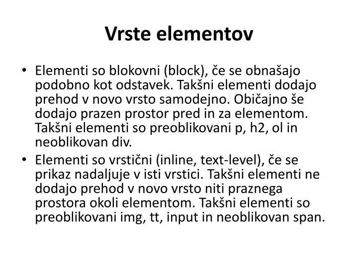 Vrste elementov