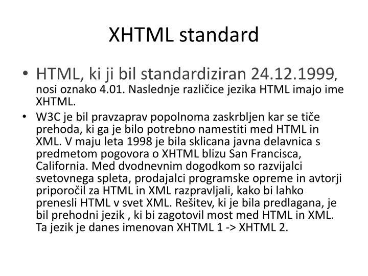 XHTML standard