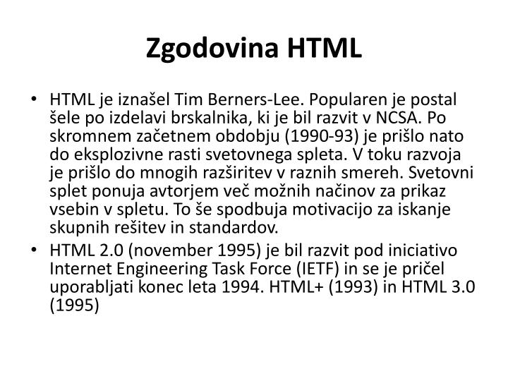 Zgodovina HTML
