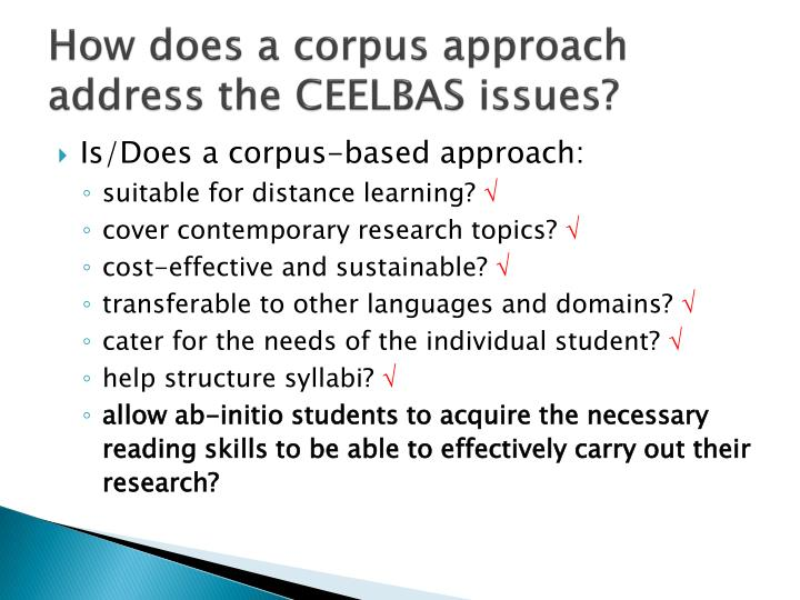 How does a corpus approach address the CEELBAS issues?