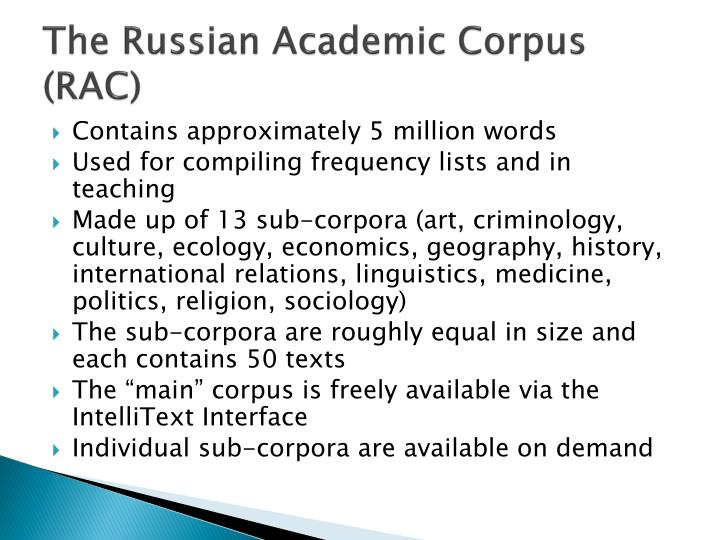 The Russian Academic Corpus (RAC)