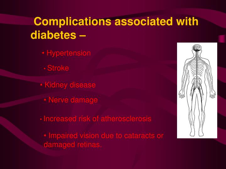 Complications associated with diabetes –