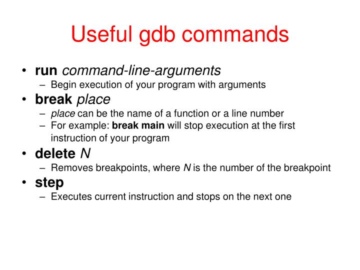 Useful gdb commands