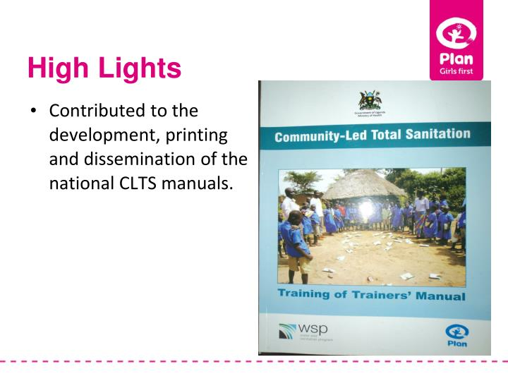 Contributed to the development, printing and dissemination of the national CLTS manuals.