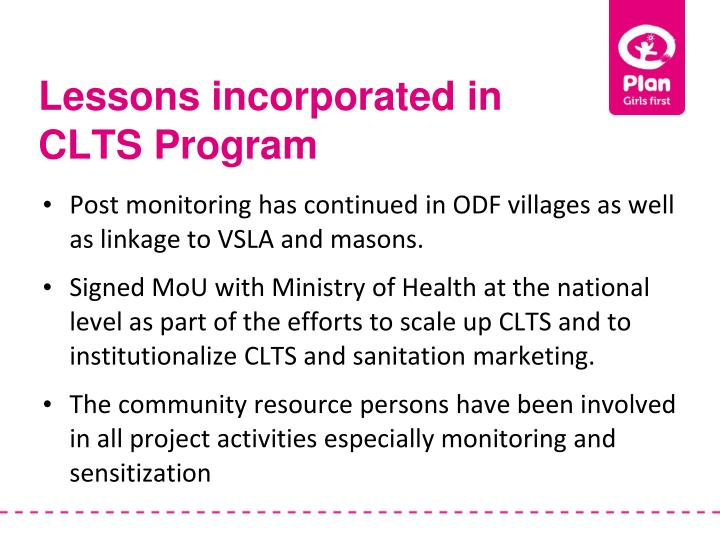 Lessons incorporated in CLTS Program