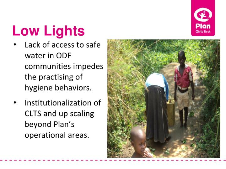 Lack of access to safe water in ODF communities impedes the practising of hygiene behaviors.