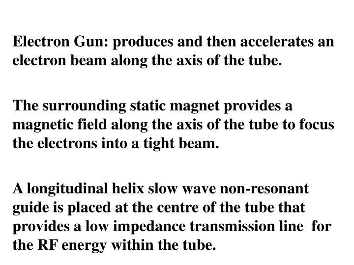 Electron Gun: produces and then accelerates an electron beam along the axis of the tube.