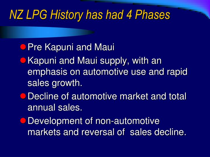Nz lpg history has had 4 phases