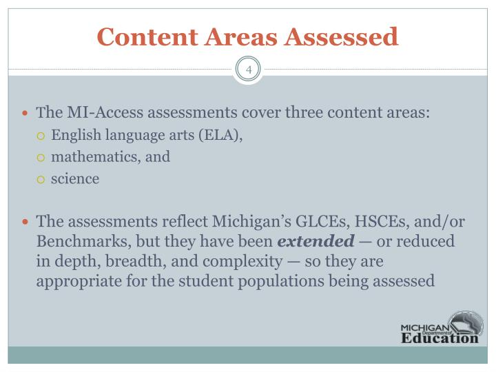 Content Areas Assessed